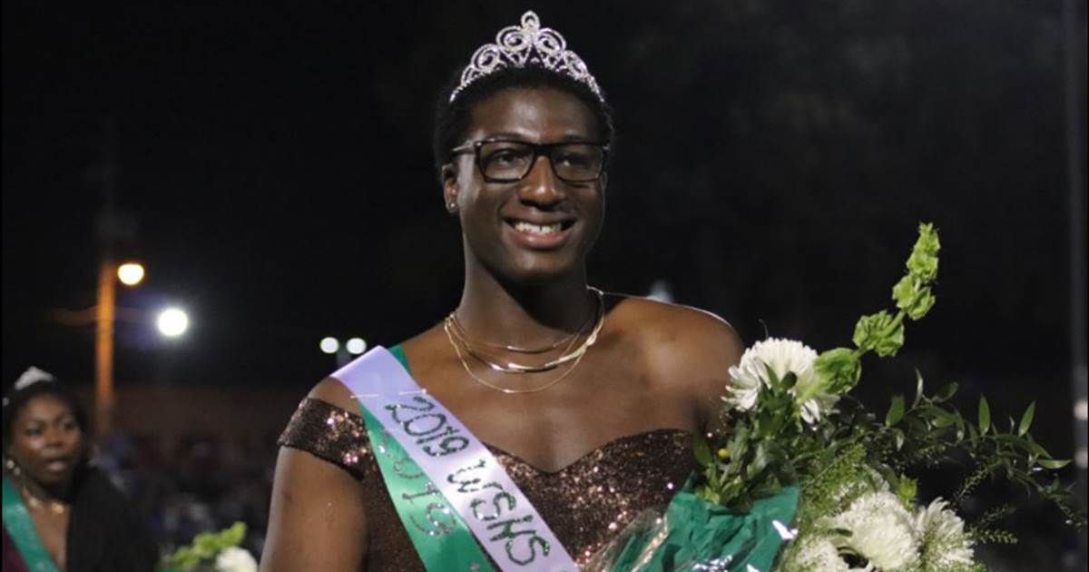 Gay high school senior in Tennessee crowned homecoming royalty in gold dress