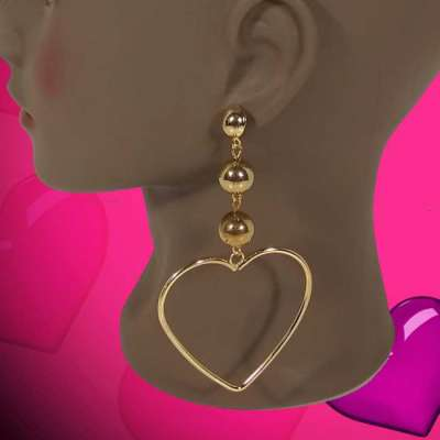 Gold-Tone Bead Heart Shaped Earrings Profile Picture