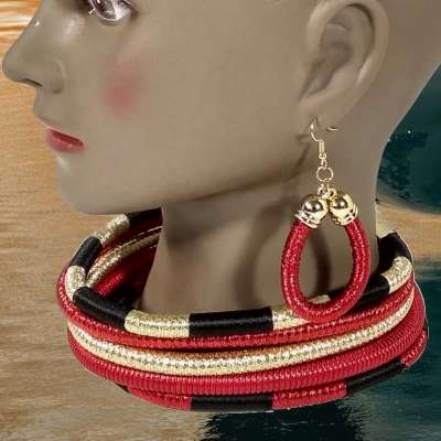 Multi-Layered Afrocentric Queen Choker & Earring Set Profile Picture
